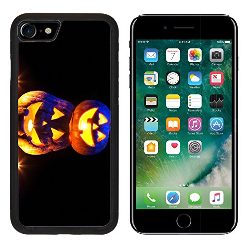 MSD Premium Apple iPhone 7 Aluminum Backplate Bumper Snap Case IMAGE ID 20841636 Scary Halloween pumpkins with eyes glowing inside at black background