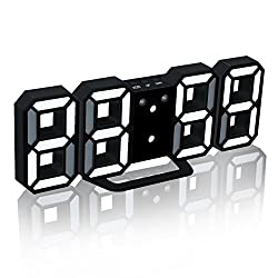EAAGD Electronic LED Digital Alarm Clock [Upgrade Version], Clock Can Adjust the LED Brightness Automatically in Night (Black/White)
