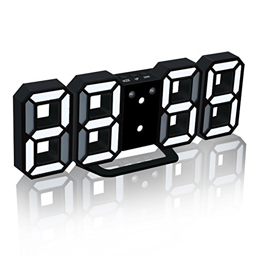EAAGD Electronic LED Digital Alarm Clocks [Upgrade Version], Clocks Can Adjust The LED Brightness Automatically in Night (Black/White) (Sale For Interesting Clocks)