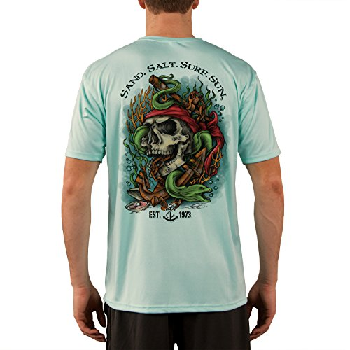 SAND.SALT.SURF.SUN. Skull Eel Anchor Men's UPF 50+ Short Sleeve T-Shirt XXX-Large (Sand Eel Green)