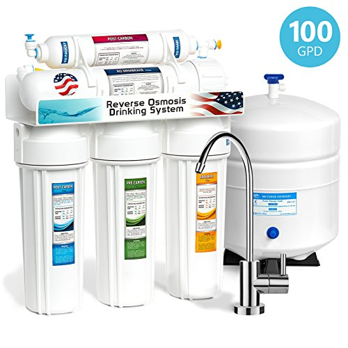 Express Water 5 Stage Home Drinking Reverse Osmosis Water Filtration System  100 GPD RO Membrane Filter