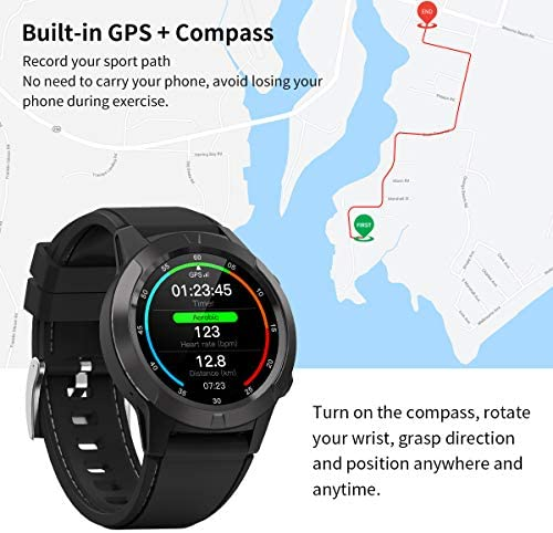 Smart Watch for Android Phones iOS, GPS Smartwatch for Men with Heart Rate and BP Monitor, Pedometer, Text Call Notification, Compass, Barometer, Altitude, Leather and Rubber Bands, Round Face, 2020 51x 2BjYUXhKL