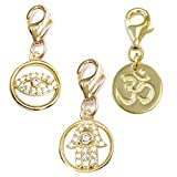 TFS Jewelry CZ Protection Hand, CZ Lucky Eye, Om 14k Gold Over Brass Clip-On Charm Set