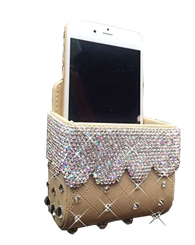 Bestbling Car Air Vent Mobile Cellphone Pocket Bag Pouch Box Storage Organizer Carrying Case (Gold)