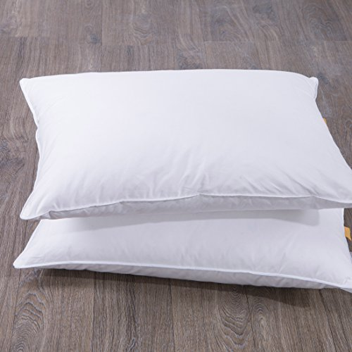 Puredown goose feather and down bed pillow white set of for Best king size down pillows