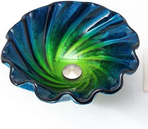 洗面化粧台シンク モダンなバスルーム容器シンクブルー&GreenSeashellウェーブ強化ガラス容器シンク滝クローム蛇口コンボ、ポップアップシンクドレイン 和風 洋風 お洒落な 節水 節約 (Color : Blue, Size : 45x45x15cm)