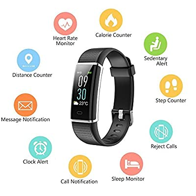 Semaco Fitness Tracker, Color Screen Heart Rate Monitor Waterproof Smart Activity Tracker Sleep Weather Step Calories Pedometer Sport Watch Wristband for Android & IOS