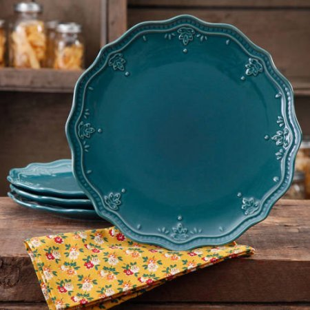 The Pioneer Woman Farmhouse Lace Dinner Plate Set (ocean teal/Plate Set 4 & Amazon.com | The Pioneer Woman Farmhouse Lace Dinner Plate Set ...