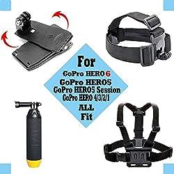 Black Pro Basic Common Outdoor Sports Kit For Gopro Hero 6 Gopro Fusionhero 5session5 4 3+ 3 2 1 Sj4000 5000 6000 Akaso Apeman Dbpower & Sony Sports Dv & More 1