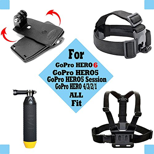 Black Pro Basic Common Outdoor Sports Kit for GoPro Hero 6/GoPro Fusion/HERO 5/Session5/4/3+/3/2/1 SJ4000/5000/6000/AKASO/APEMAN/DBPOWER/And Sony Sports DV and More
