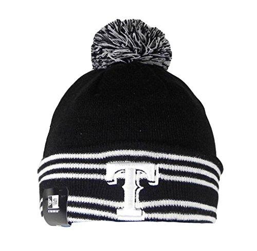 New Era Beanie MLB Sport Knit Headwear Texas Rangers Men Size Hat Pom Pom Black