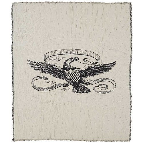 Eagle Stenciled Canvas and Burlap Throw