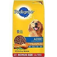 Pedigree Complete Nutrition Adulto Perro seco para perros, arroz y sabor a vegetales, 40 lb. Bolso