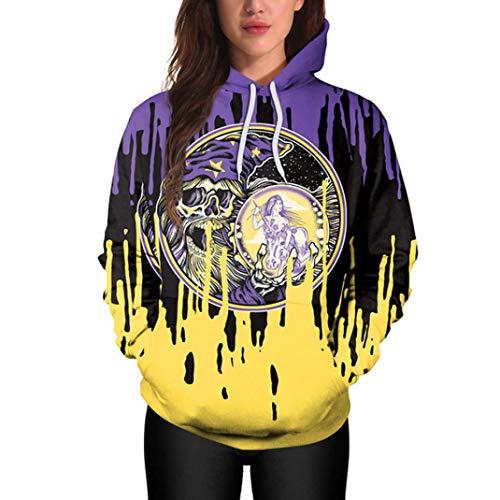 iYBUIA Halloween Punk Women Casual Hoodies Print Pullover Hoodie Sweatshirt Pullover Tops(Multicolor,M)
