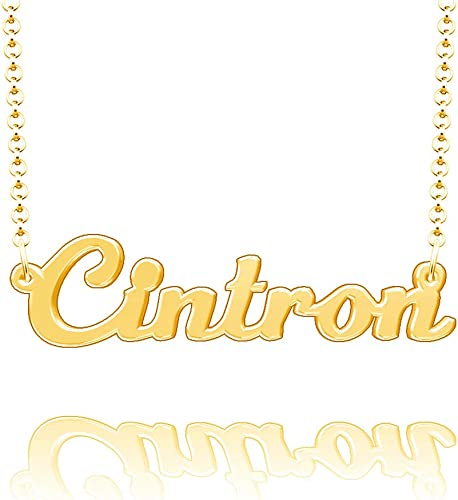 LoEnMe Jewelry Cintron Name Necklace Stainless Steel Plated Custom Made of Last Name Personalized Gift for Family