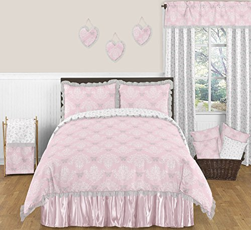 Sweet Jojo Designs 4-Piece Pink, Gray and White Butterfly Queen Sheet Set for Shabby Chic Alexa Bedding Collection