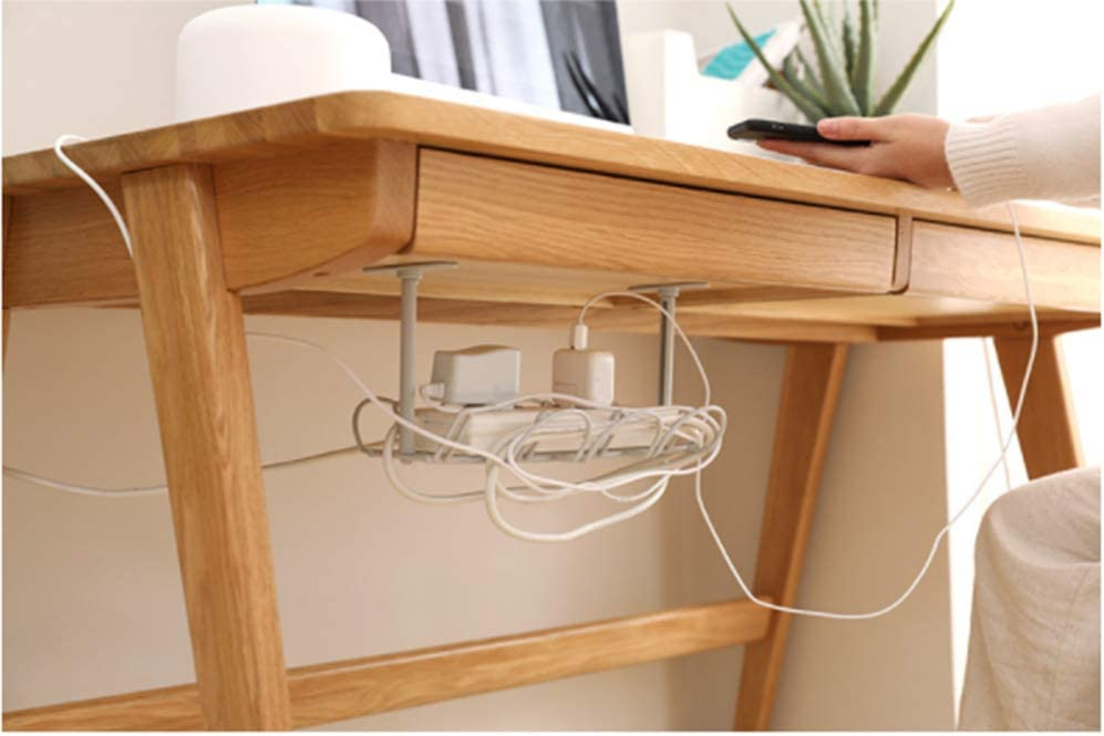 Grey Under Desk Cable Tray Basket Cable Management Tray Storage Organizer Mesh Cord Tidy w//Mounting Bracket