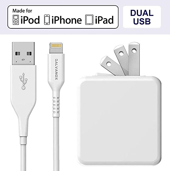 quality design 92b62 e4c9c Galvanox (Apple MFi Certified) iPhone Charger Cable (5ft) with 17W Power  Adapter - Lightning to USB Charging Cord Plus Dual USB-Port Wall Plug (for  ...
