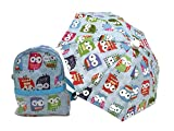 Glamerup: Bridget 2-pc Zippered Backpack and Umbrella Set in Blue Owl Print - for Most 18 inch Dolls