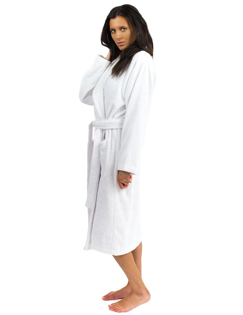 TowelSelections Terry Cloth Bathrobe - Shawl Collar Terry Robe for Women and Men, 100% Turkish Cotton, Made in Turkey (White,S/M) by TowelSelections (Image #1)