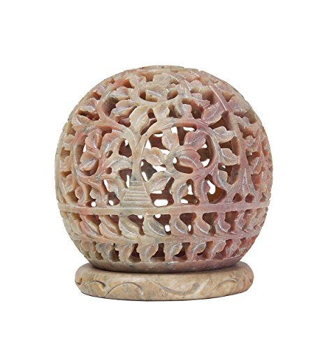 Stylla London® Soapstone Votive Tealight holder with Floral Cut-out Design and Tendrils Carved on the Side and a Rosette on the Top 4 x 35 Inches VS1291