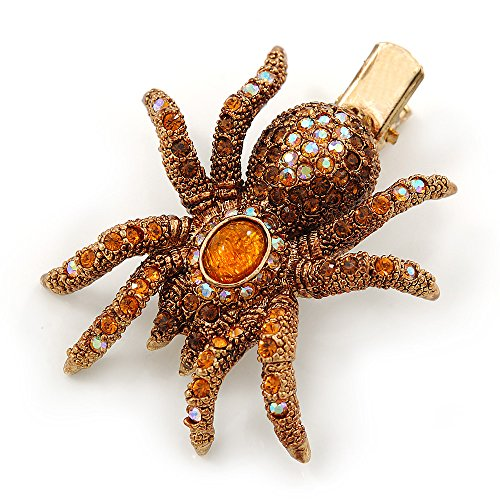 Amber/ Topaz Coloured Austrian Crystal Spider Hair Beak Clip/ Concord Clip In Antiique Gold Plating - 55mm L by Avalaya