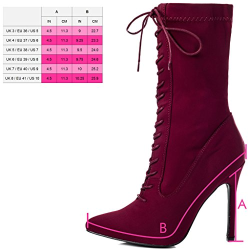 Rouge Aiguille Stretch Femmes Chaussures Bottines Spylovebuy Talon Kadence Tirette À U8Tqa