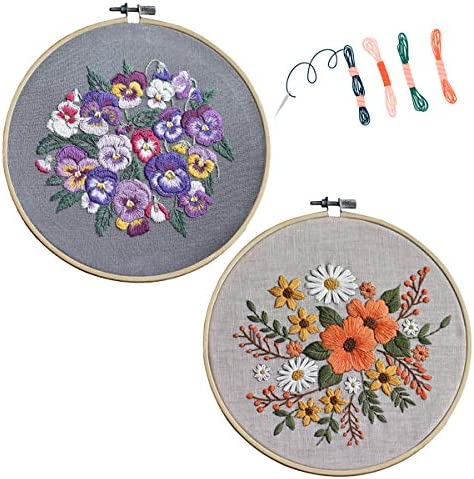 2 SetFlower Embroidery Starter Kit PatternCross Stitch kitEmbroidery kit Beginnerfor Handmade DIY Gift (Orange&Purple)