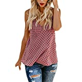 Summer Womens V-Neck Vest Polka Dot Print Sleeveless T-Shirt Blouse Casual Loose Tank Tops (Pink, XL)