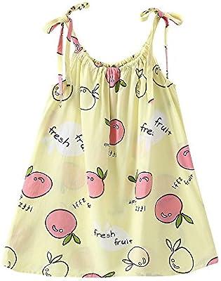 feiXIANG Bebé recién Nacido Niño Niña Bebé Vestido sin Mangas Fruta Limón Estampado Vendaje Vestido Playa Vestido Casual Princesa Ropa