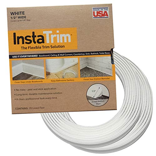 InstaTrim IT05INWHT InstaTrim-1/2 inch Flexible, Self-adhesive, Caulk and Trim Strips for Floors, Ceilings, Countertops and More and More, 1/2 in. wide X 10 ft long, White, 2 Pack (Best Finish For Exterior Wood Threshold)