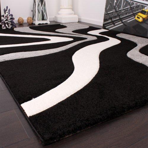 paco home tapis de crateur aux contours dcoups motif vagues en gris noir blanc dimension80x150 cm amazonfr cuisine maison - Tapis Noir Et Blanc
