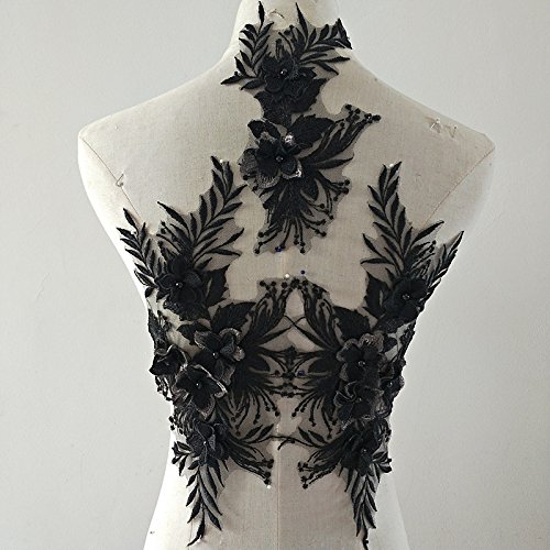 beaded flower sequence lace applique motif sewing bridal wedding 3in1 A5 3D (Black)