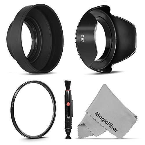 52MM Accessory Kit for NIKON D7100 D7000 D5300 D5200 D5100 D5000 D3400 D3300 D3200 D3100 D3000 D90 D80 DSLR Cameras - Includes: Tulip Lens Hood + Collapsible Rubber Lens Hood + UV Lens Filter (Tulip Lense Hood)