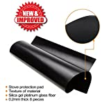 11 PACK PREMIUM 10 Black Gas Stove Burner Covers + 1 BONUS Silicone Cup Mat - Stove Top Liner - Gas Range Protector - Stove Burner Covers - IMPROVED Double Thickness 0.2mm Reusable & Dishwasher Safe