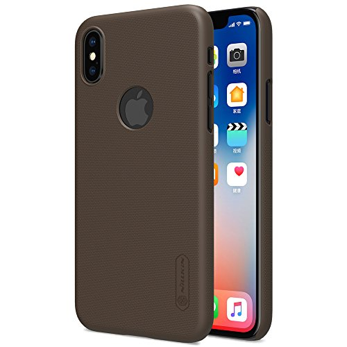 Nillkin Case for Apple iPhone X (5.8″ Inch) Super Frosted Hard Back Cover Hard PC with Logo Cutout Brown Color