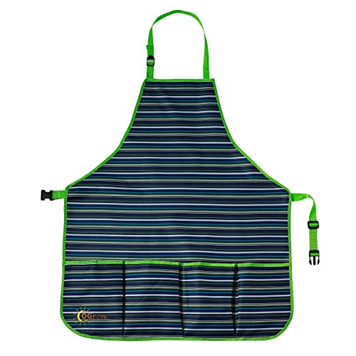 Adult Gardening Apron |Adjustable Neck and Waist Belts |Outdoor Apron |Tool Apron |Water proof Apron |Harvest Apron |Gardeners Apron |Apron for Men |Apron for Women - Blue/White Striped - Large