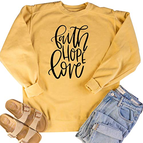 Faith Hope Love Letter Printed Sweatshirts Pullover Casual Tunic Top Shirts for Women Yellow