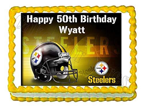 Pittsburgh Steelers Football Edible Cake Image Cake