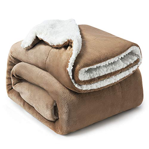Bedsure Sherpa Fleece Blanket Twin Size Camel Plush Blanket Fuzzy Soft Blanket Microfiber from Bedsure