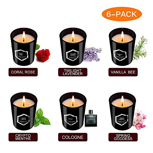 Scented Candles - Luxury Black Candles with gift boxes (six packs), Soy Wax Candle With Unique Fragrance, Gifts for women Birthday, wedding anniversary, Thanksgiving, Christmas, Mothers Day