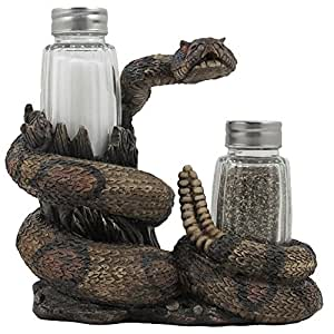 Southwest Rattlesnake Salt and Pepper Shaker Set with Holder in Southwestern Kitchen Decor and Great Snake Gifts for Arizona Diamondbacks Fans by Home-n-Gifts