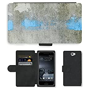 PU Cuir Flip Etui Portefeuille Coque Case Cover véritable Leather Housse Couvrir Couverture Fermeture Magnetique Silicone Support Carte Slots Protection Shell // M00154227 Resumen de la pared gris cemento blanco // HTC One A9 (Not Fit M9)