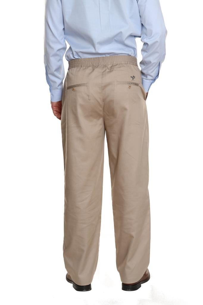Pembrook Men's Full Elastic Waist Twill Casual Pant - L - Tan by Pembrook (Image #4)