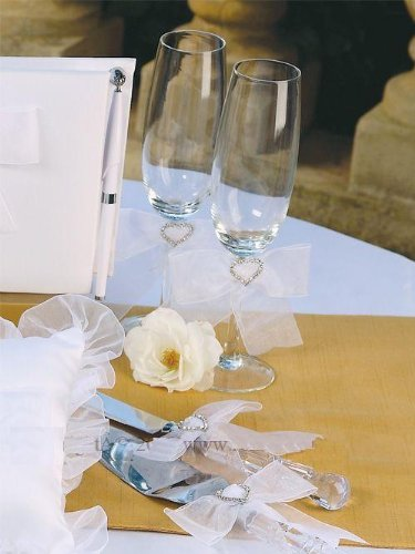 - Crystal Heart Wedding Flutes with Cake Knife & Server Set White Organza Wedding Perfections by Beverly Clark