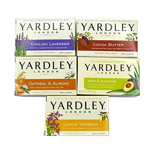 Yardley London Soap Bath Bar Bundle - 5 Bars: English Lavender, Oatmeal and Almond, Aloe and Avocado, Cocoa Butter, Lemon Verbena 4.25 Ounce Bars (Pack of 5 Bars, One of Each) -