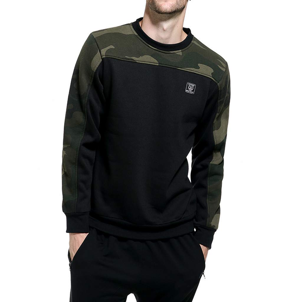 BEKUTY Sweat-Shirts Militaire Camouflage T-Shirt Manches Longues Homme Pull Col O Tops Chemisier Automne