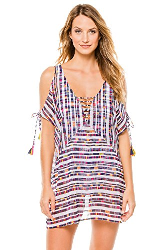 Becca by Rebecca Virtue Women's Artisan Tunic Swim Cover Up Multi XS/S
