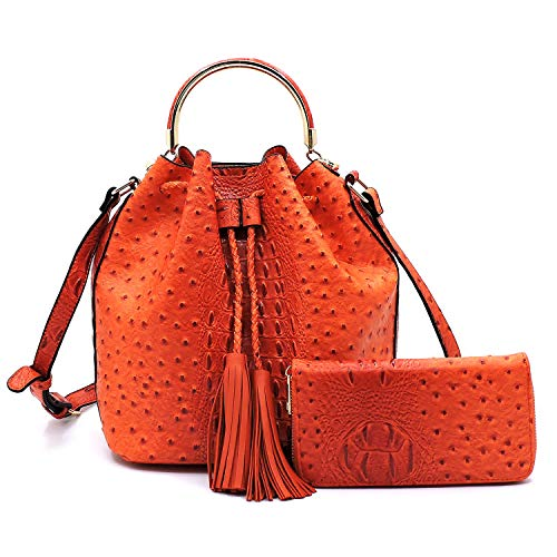 2 PC Set Ostrich Croco Embossed Vegan Faux Leather Cross body Bucket Handbag Purse with Matching Wallet (Orange)