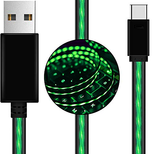 USB Type C Cable AoLiPlus 6ft LED USB C Cable Visible Flowing Fast Charger Cord Compatible Samsung Galaxy S9 Note 9 8 S8 Plus,LG V30 V20 G6 G5,Google Pixel,MacBook,USB C Devices -Green